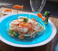 Spaghettis et Tranches de la Mer Coraya aux légumes croquants